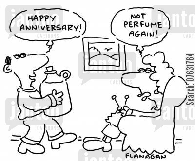 anniversary present cartoon humor: Happy anniversary! Not perfume again!