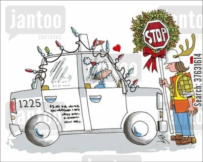 taxicabs cartoon humor: Season's Traffic Greetings,