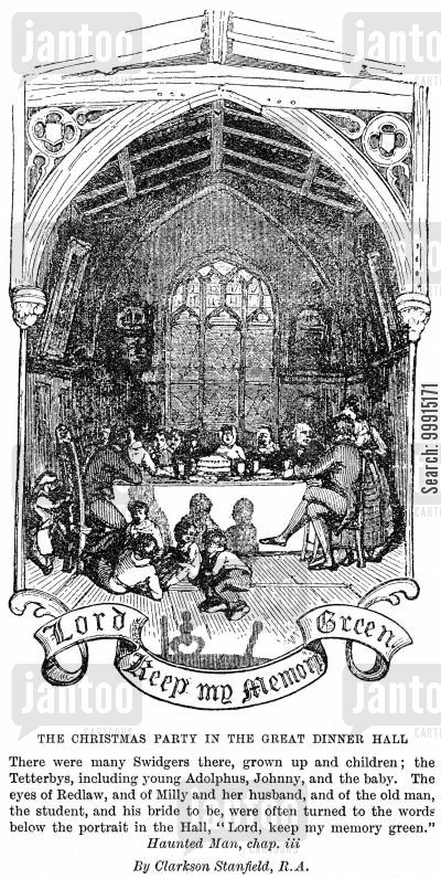 adolphus tetterby cartoon humor: The Christmas party in the great dinner hall