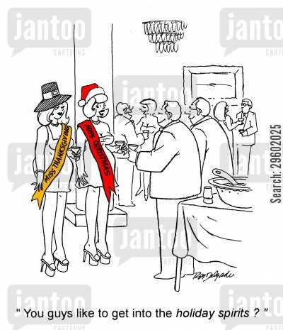 port cartoon humor: 'You guys like to get into the holiday spirits?'