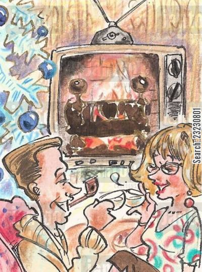 nostalgia cartoon humor: The TV Yule Log. Almost as good as the real thing! Well...sort of.