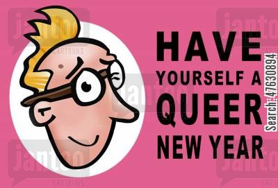 greet cartoon humor: Queer New Year