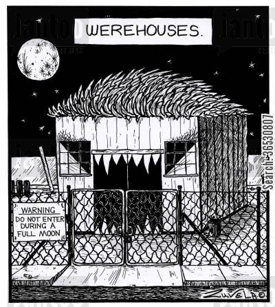full moon cartoon humor: Werehouses.
