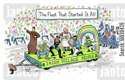 patrick's day cartoon humor: Gay pride parade, St. Patricks Day float that 'Started it All - Irish Village People'