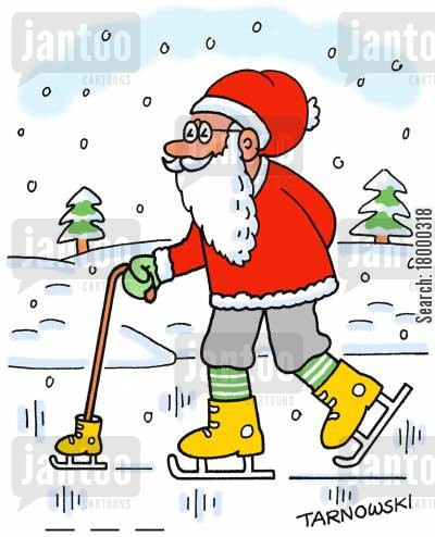 ice skate cartoon humor: Old man with an ice skate on his walking stick (colour).