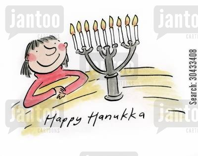 religious festival cartoon humor: Happy Hanuka