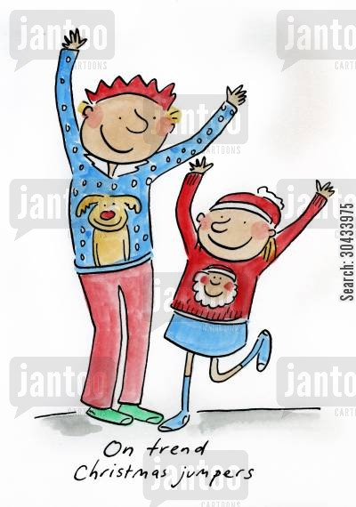 christmas theme cartoon humor: On trend Christmas jumpers