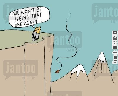 mountaintops cartoon humor: 'We won't be seeing that one again...'