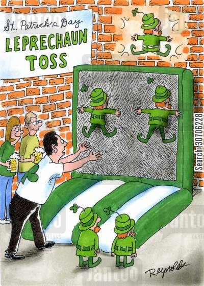 clover cartoon humor: 'St Patrick's Day Leprechaun Toss.'