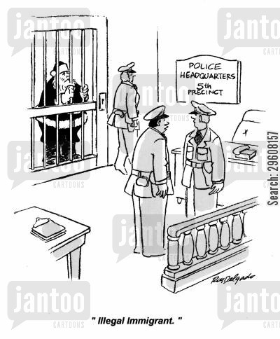 imprisoned cartoon humor: 'Illegal immigrant.'