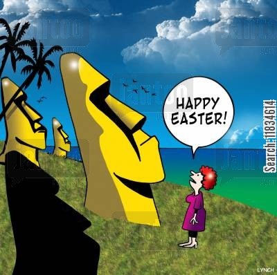 moais cartoon humor: 'Happy Easter.'