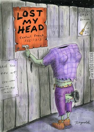flyer cartoon humor: Lost My Head...