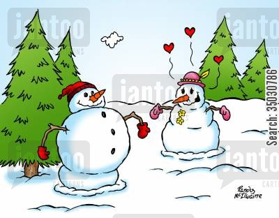 true love cartoon humor: Snow woman admiring a muscular snowman.
