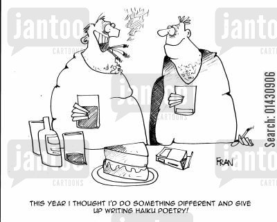 new year resolutions cartoon humor: This year I thought I'd do something different and give up writing Haiku poetry!