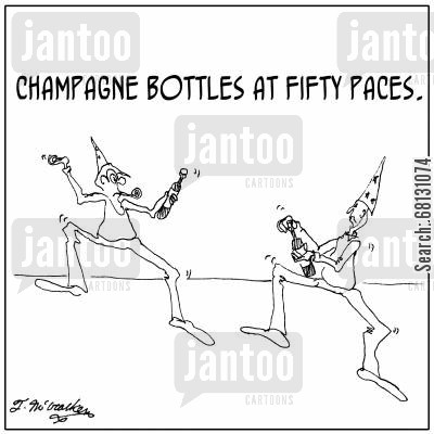 new years resolutions cartoon humor: Champagne Bottles at 50 Paces.