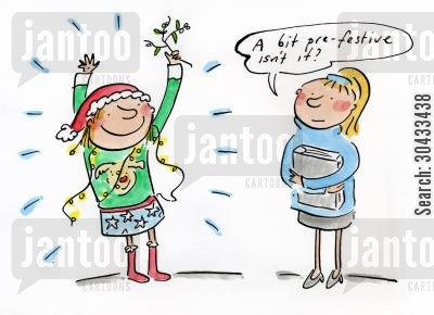 christmas celebrations cartoon humor: A bit pre festive isn't it?
