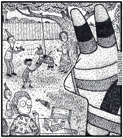 bash cartoon humor: An angry Parent Pinata has come across a Family celebrating a Birthday, bashing the stuffings out of one of it's kids.