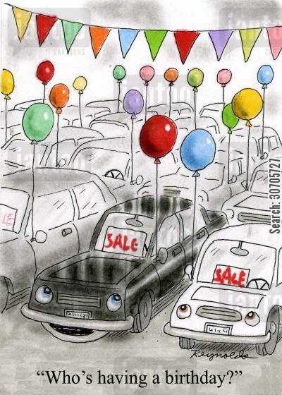 car sales cartoon humor: 'Who's having a birthday?'
