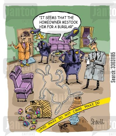 peter cottontail cartoon humor: 'It seems that the homeowner mistook him for a burglar' (colour)