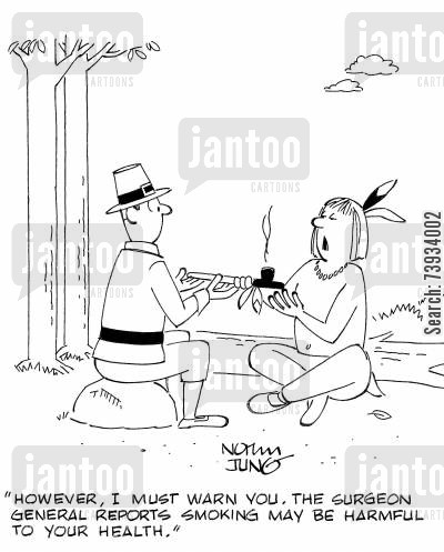 health risks cartoon humor: 'However, I must warn you. The surgeon general reports smoking may be harmful to your health.'