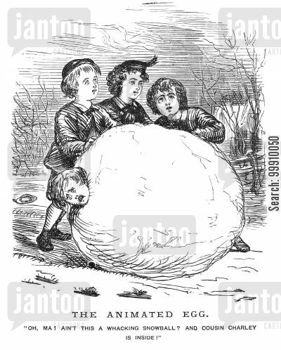 snow cartoon humor: Boy rolled into a snowball