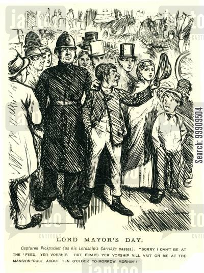 arresting cartoon humor: A Pickpocket Is Arrested.