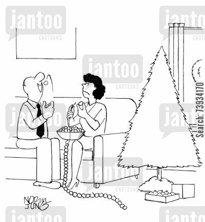 ornament cartoon humor: Husband eats popcorn wife is stringing for Christmas tree.