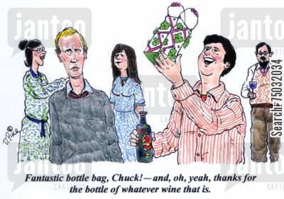 new years eve cartoon humor: 'Fantastic bottle bag, Chuck! - and, oh, yeah, thanks for the bottle of whatever wine that is.'