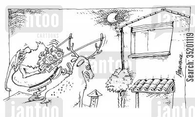 catapault cartoon humor: Santa catapaulting presents.