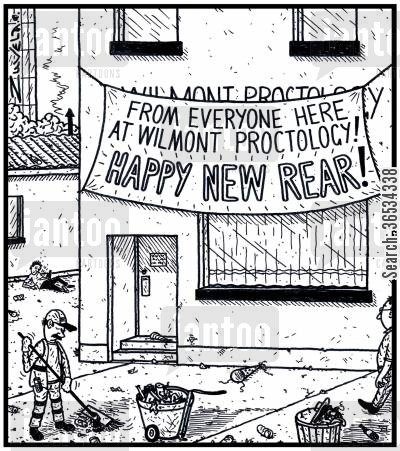 medical profession cartoon humor:  'From everyone here at Wilmont Proctology! HAPPY NEW REAR!'