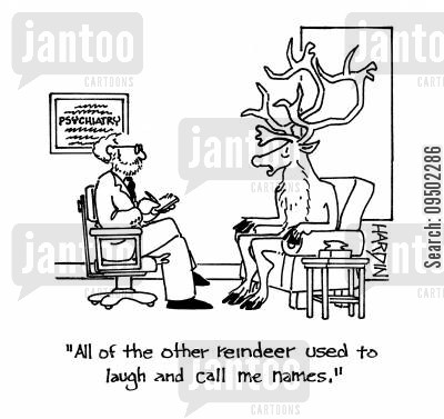 name calling cartoon humor: 'All of the other reindeer used to laugh and call me names.'