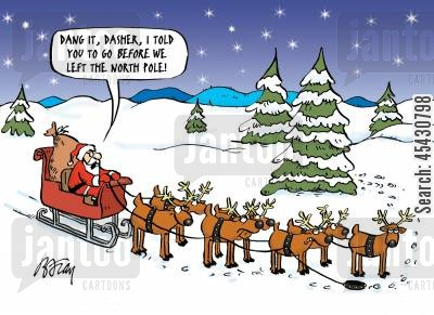 pee break cartoon humor: 'Dang it, Dasher, I told you to go before we left to North Pole!'