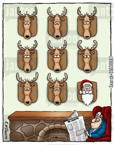 shootings cartoon humor: Santa's head mounted on a wall.