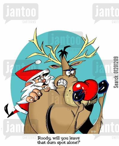 rudolf the red nosed reindeer cartoon humor: Roody, will you leave that durn spot alone?