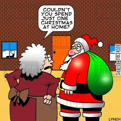 mrs cartoon humor: 'Couldn't you just spend one Christmas at home?'