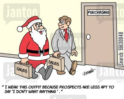 christmas presents cartoon humor: Salesman in a Santa suit