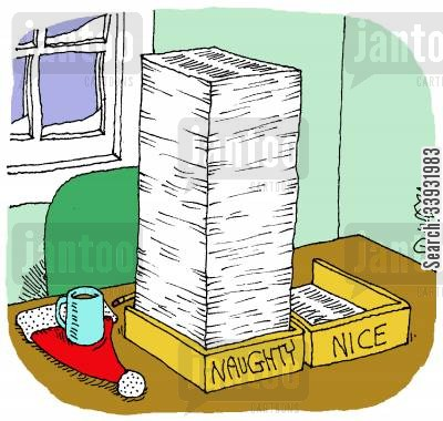 good behavior cartoon humor: Naughty And Nice.