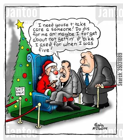 store santa cartoon humor: Mobster tries to recruit Santa as a hitman.