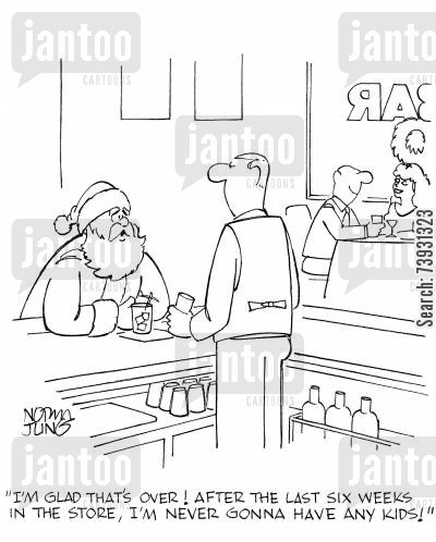 retail store cartoon humor: 'I'm glad that's over! After the last six weeks in the store, I'm never gonna have any kids!'