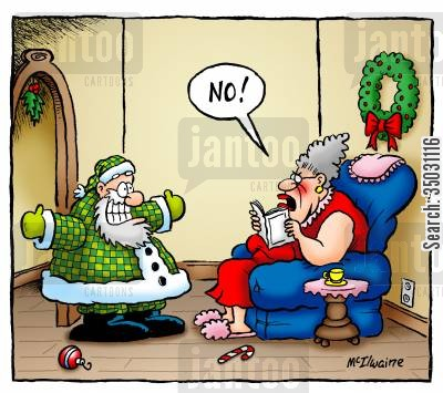 fashion advisers cartoon humor: Santa tries out a new look.