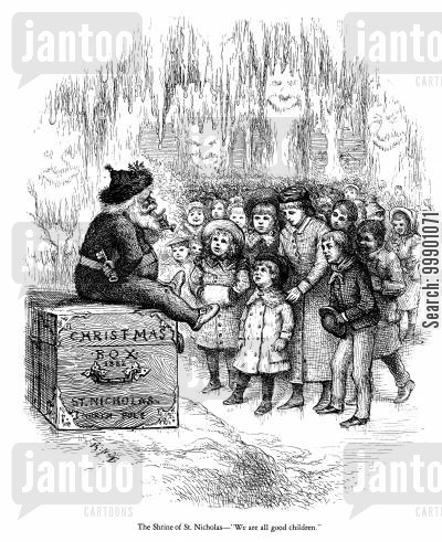 shrine of st nicholas cartoon humor: Children Plead with Santa Claus
