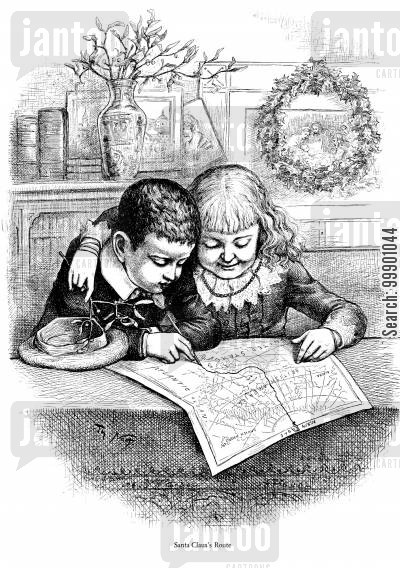 st nick cartoon humor: Children Plotting out Santa Claus's Route