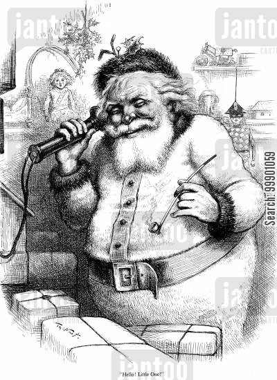 phones cartoon humor: Santa Clause answers Girl's Phone Call