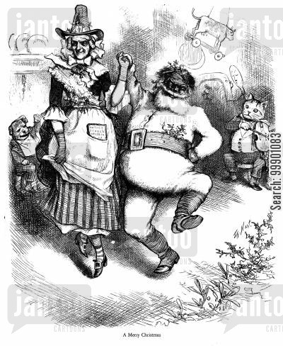nursery cartoon humor: Santa Claus and Old Mother Goose