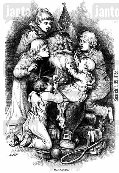 st nicholas cartoon humor: Santa Clause and Children