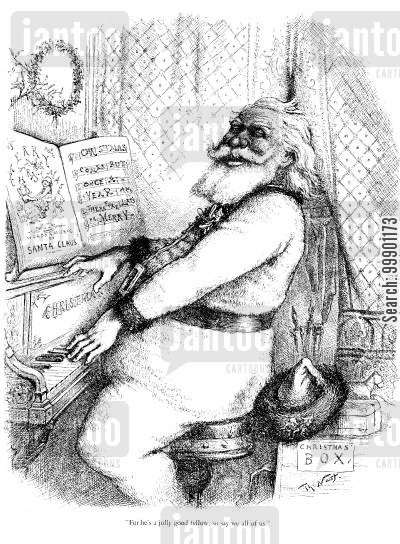 st nick cartoon humor: Santa Playing the Piano