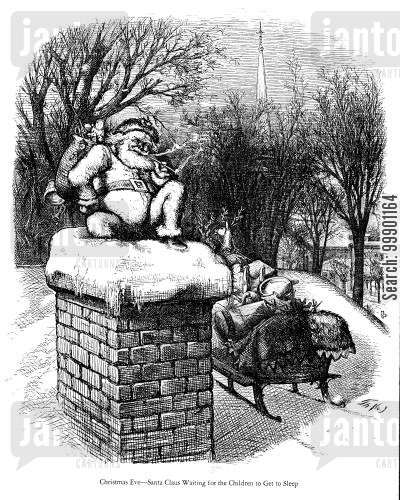 roof top cartoon humor: Santa waiting for Children to get to Sleep