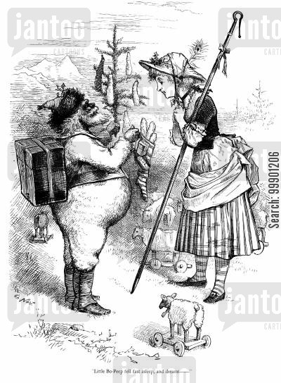 nursery rhyme cartoon humor: Santa Claus with Little Bo-Peep