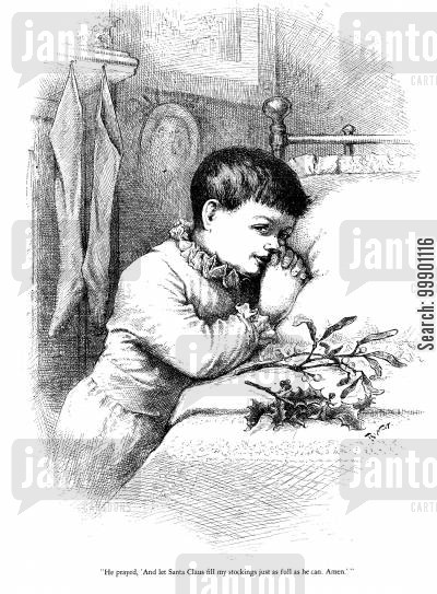 xmas cartoon humor: Boy Prays for a Full Stocking