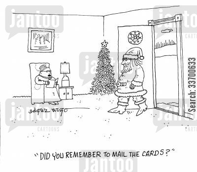 errands cartoon humor: 'Did you remember to mail the cards?'